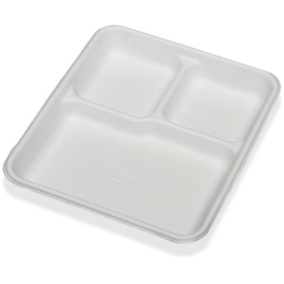Skilcraft 3 Compartment Disposable Plates - Plate - Paper Fiber - Disposable - White - 500 Piece(S)  sc 1 st  bscsource.com : compartment paper plates - Pezcame.Com