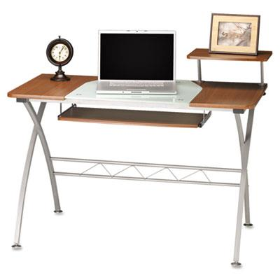 Eastwinds Vision Computer Desk, 47-1/4w X 27d X 34h, Med Cherry With White Glass