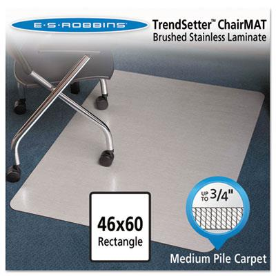 Stainless 60x46 Rectangle Chair Mat, Design Series For Carpet Up To 3/4
