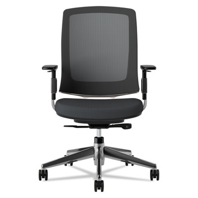 Lota Series Mesh Mid-Back Work Chair, Black Fabric, Polished Aluminum Base