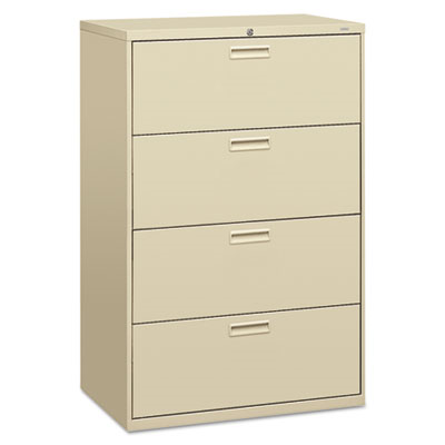 500 Series Four-Drawer Lateral File, 36w X 19-1/4d X 53-1/4h, Putty