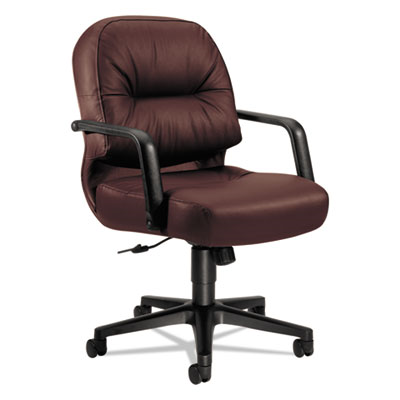 2090 Pillow-Soft Series Managerial Leather Mid-Back Swivel/Tilt Chair, Burgundy