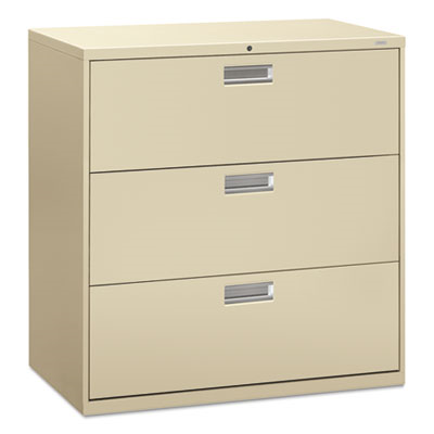 600 Series Three-Drawer Lateral File, 42w X 19-1/4d, Putty