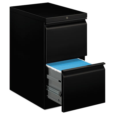 Efficiencies Mobile Pedestal File W/Two File Drawers, 22-7/8d, Black