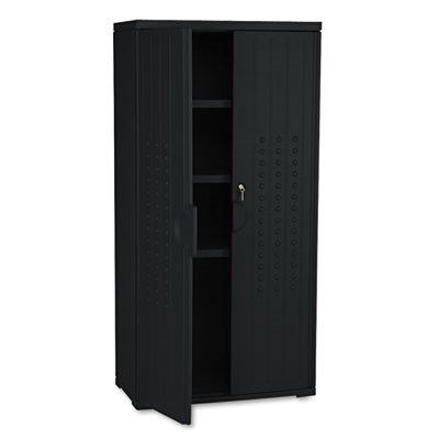Officeworks Resin Storage Cabinet, 33w X 18d X 66h, Black
