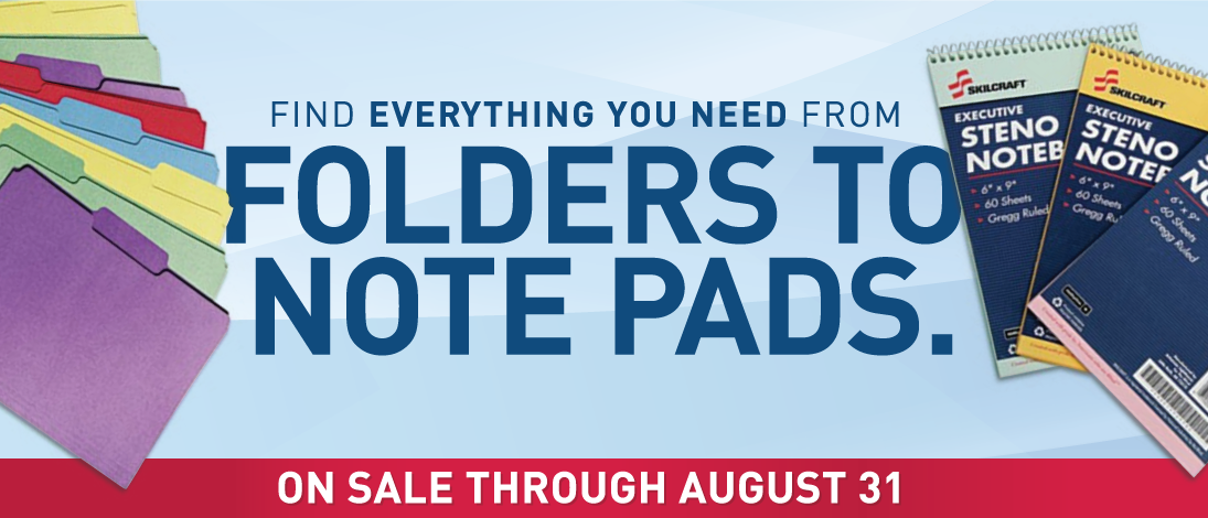 Find everything you need from folders to note pads.